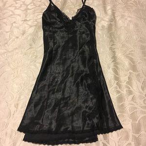 Frederick's of Hollywood black satin slip dress